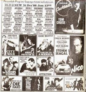 Scan iklan koran program Old & New tahun 1988. (Terima kasih untuk teman-teman di http://dunianostalgia80-an.blogspot.com/2008/06/iklan-bioskop-old-new-88.html yang menyediakan image ini.)