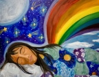 Colorful-drawing-of-woman-dreaming